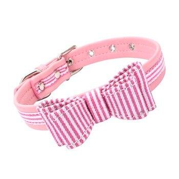 89bb6248753e Bowknot gatos collares colorido rayas tela y microfibra ajustable lindo  Collar para gatos perros pequeños Pet