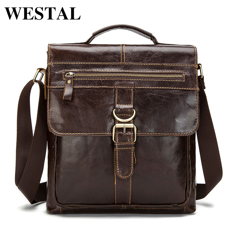 WESTAL Genuine Leather Bag Men leather Bags Messenger Bag Laptop Male Man C..
