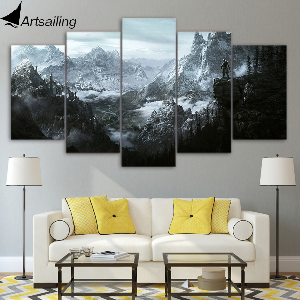 HD 5 Piece Canvas Painting The Elder Scrolls V Skyrim Posters And Prints Pictures For Living Room Wall Art  Home Decor XA-1948A