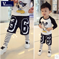2016 autumn winter hot boys jeans shorts wornFake two pieces Printing numbers washed jeans