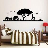 Natuur Bos En Dieren Olifant Giraffe Muurstickers Voor Woonkamer Zelfklevende Vinyl Decals Behang Home Decor