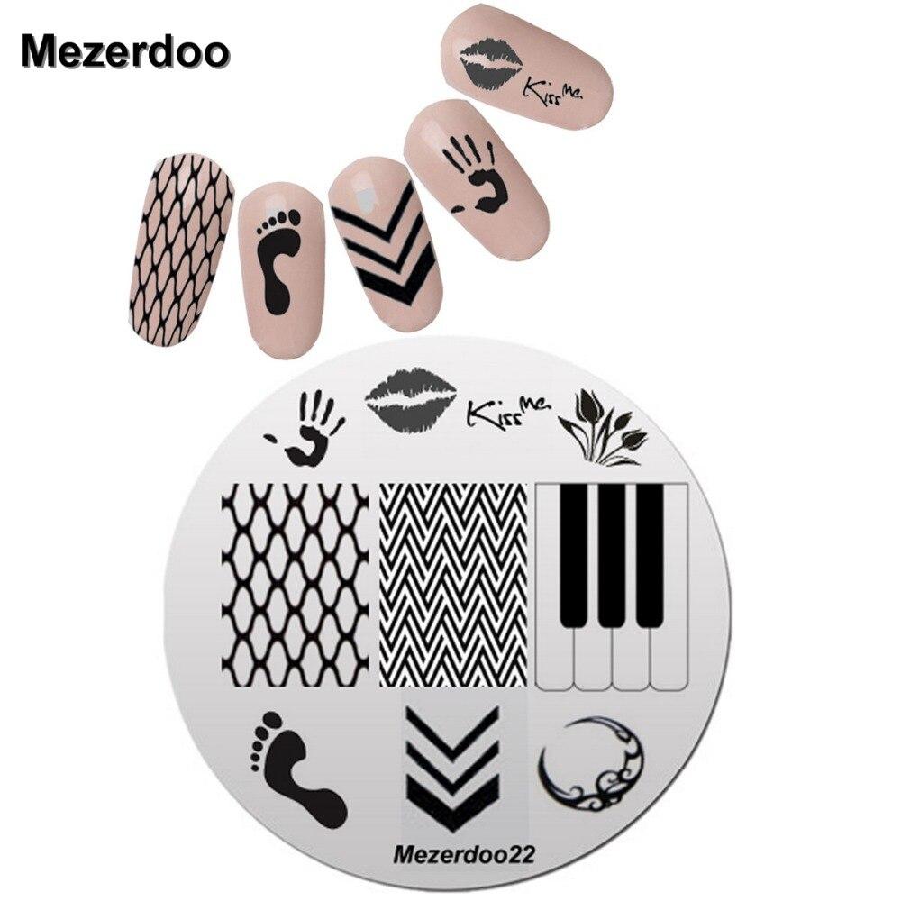 US $1 43 OFF Ciuman Desain 5 5 Cm Putaran Nail Art Stamp Stamping Pelat Template Set Lucu Kaki Panah Jaring Gambar Plat Manicure