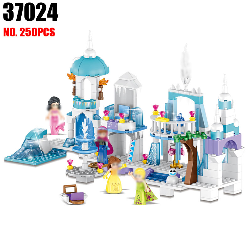 4pcs Mermaid Beauty Princess Ice Castle Building DIY Bricks Blocks Sets Toy Friends Educational Toys 37024 for girls friends city park cafe building blocks toy set diy educational toys figure bricks toys compatible bela 10162 lepins friends 3061