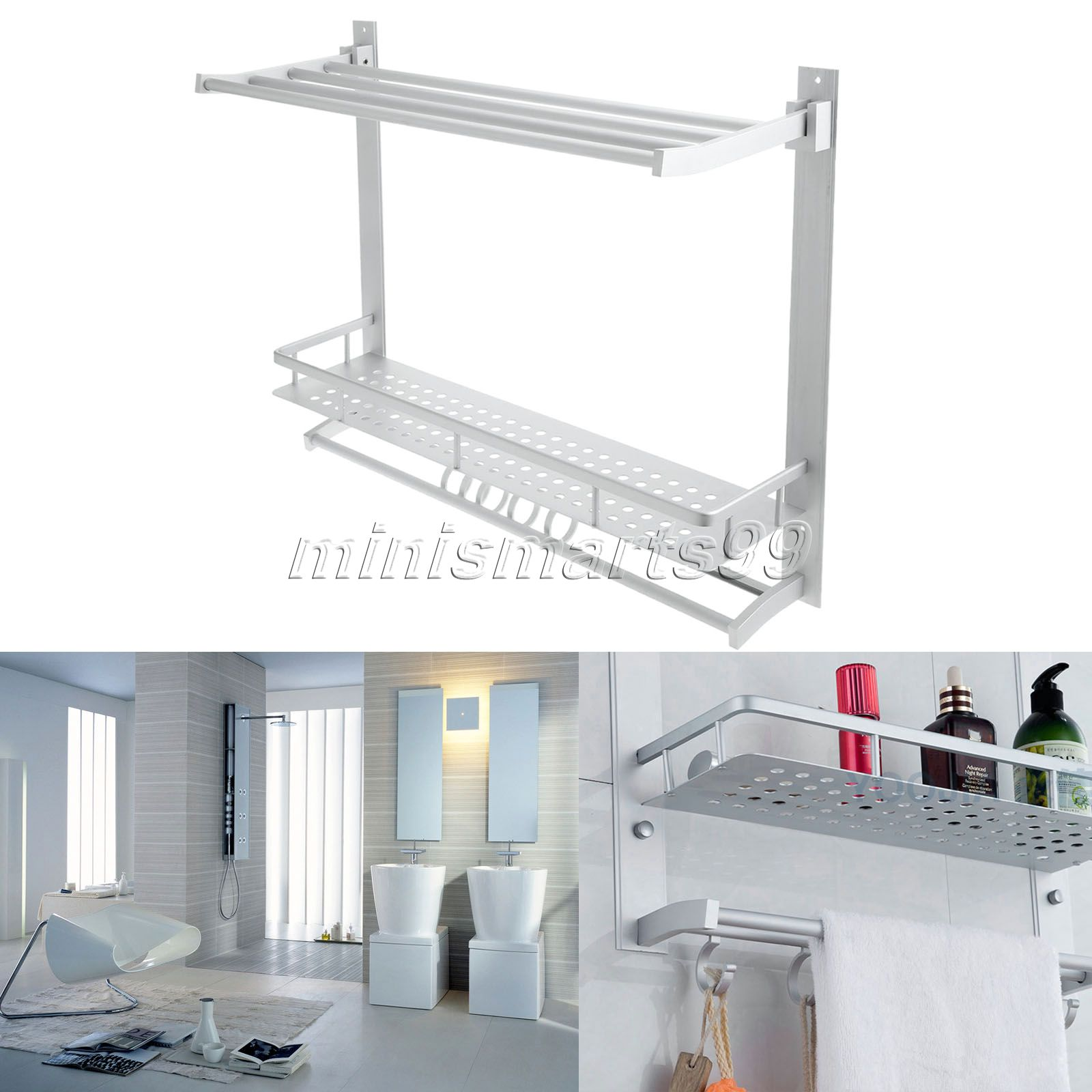 60CM Double Layers Aluminum Bathroom Rack Towel Shelves Washing ...