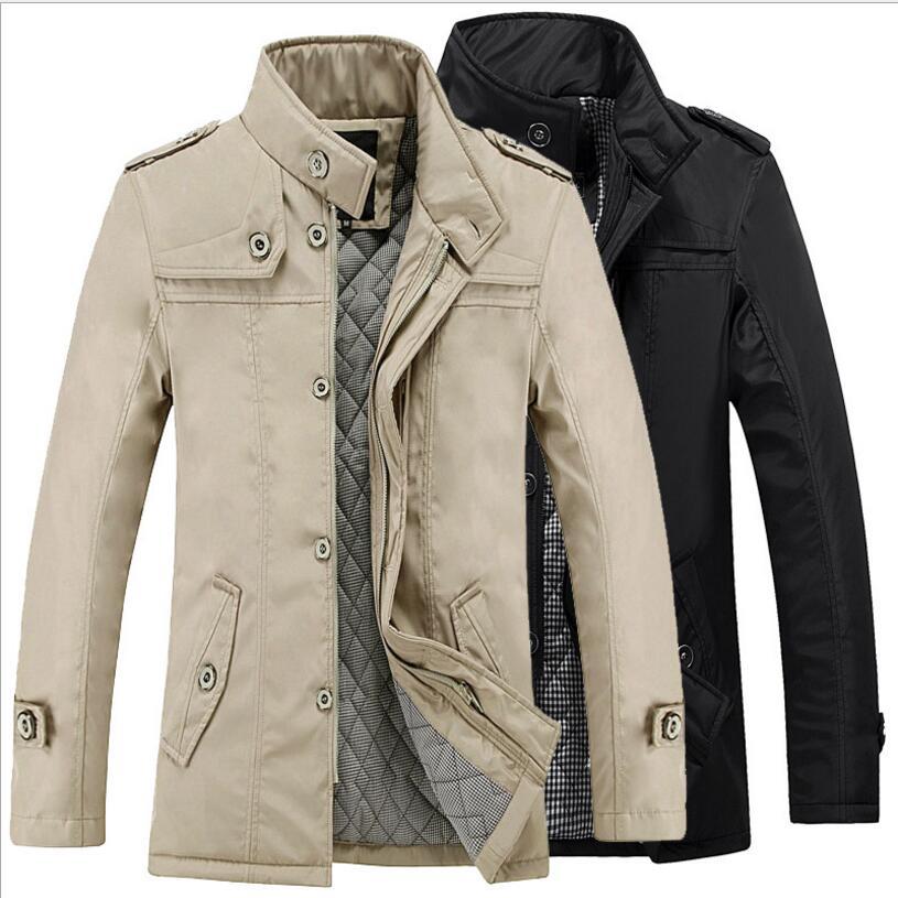 Men Stand Collar Jackets Autumn Winter Thicker Warm Long Jackets Men Smart Casual Slim Jackets Coats Men Warm Jackets