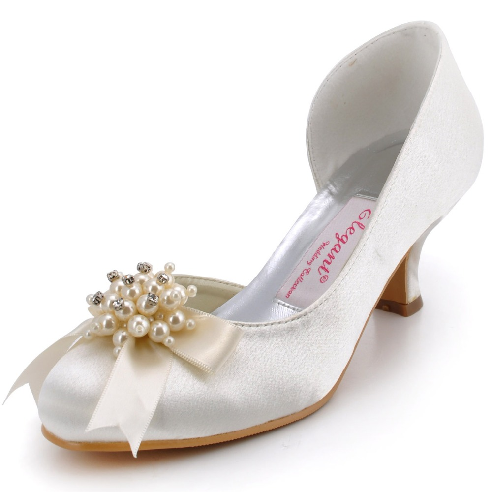 DS-100114 Women Shoes Low Heel Wedding Bridal Bride Ivory White Burgundy Pearls Rhinestones Satin Prom Evening Party Pumps