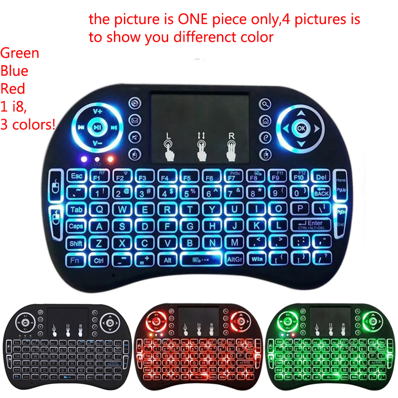 1PC Normal & Backlight mini i8 English Russian Version Keyboard Remote Control Air Mouse Touchpad Keyboard For Android TV BOX PC цена и фото