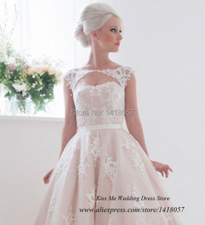 Vestido de Noiva Curto Vintage Pink Short Wedding Dress Lace 2015 ...