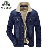 Fur Collar Autumn Winter Denim Jacket Coat Men Brand Clothing High Quality Thick Fleece Fashion Style