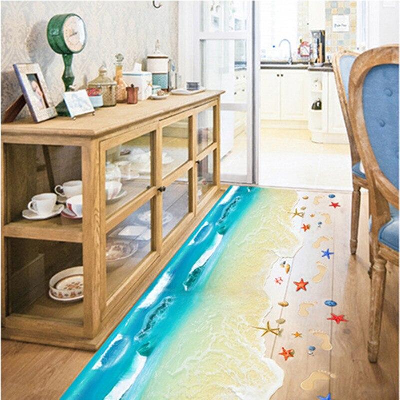 3d cartoon ocean waves beach shell footprint wall sticker for 3d baby room design
