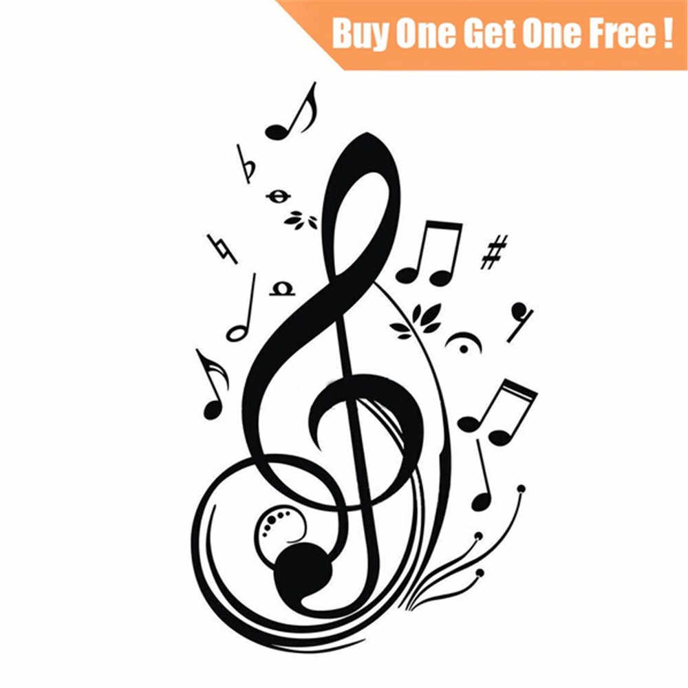 2Pcs Removable Kids Wall Stickers Musical Notes Living Room Decor Wall Covering Paper Home Decal PVC Non-Toxic Wall Poster