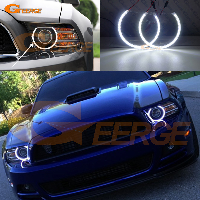 For Ford Mustang 2013 2014 Excellent angel eyes Ultra bright illumination smd led Angel Eyes kit Halo Rings ford mustang v6 2011