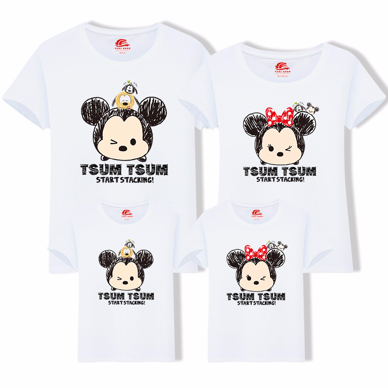 Short Sleeve Family Look Tshirt Fashion Summer Mother Daughter Clothes Cartoon Sylvanian Families Family Match Clothing H0072