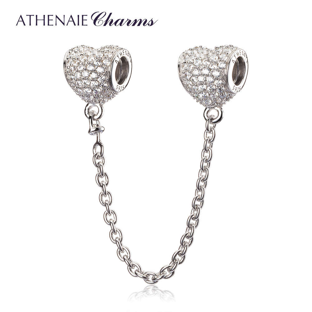 ATHENAIE 925 Sterling Silver Clear CZ Heart Shape Conection Safety Chain Fit all European Bracelet Authentic