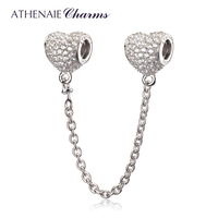 ATHENAIE 925 Sterling Silver Clear CZ Heart Shape Conection Safety Chain Fit Original Pandora Bracelet Authentic