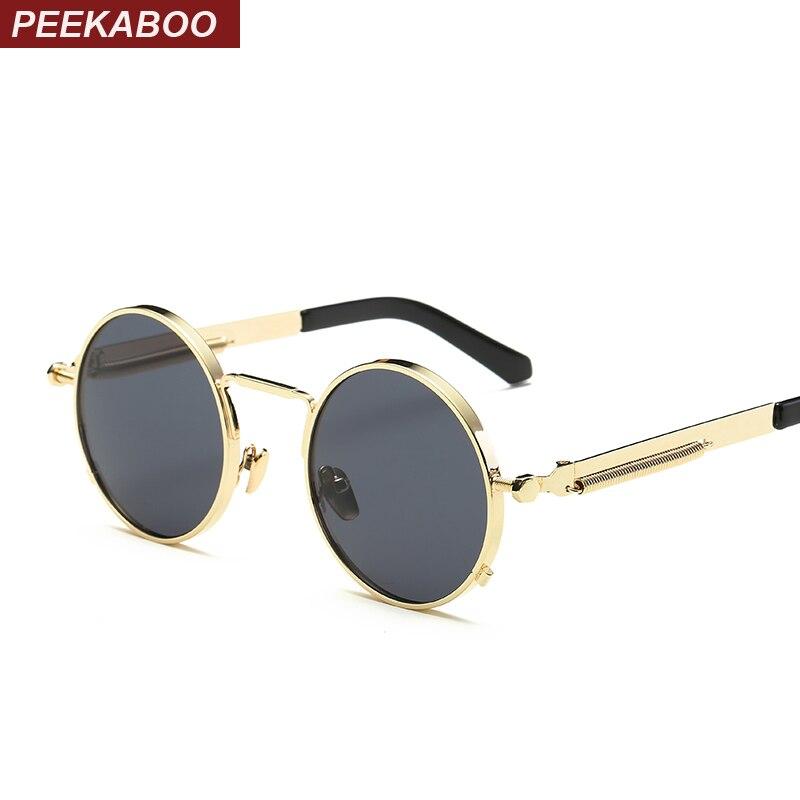 a5211bd6d8 Peekaboo black metal small round sunglasses vintage punk mens womens nerd  glasses clear lens eyewear unisex