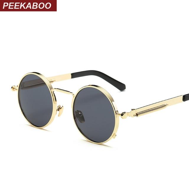 71acb9aa2d Peekaboo de metal negro pequeño redondo gafas de sol vintage para hombre  mujer gafas nerd lente