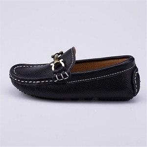 Chaussures en cuir véritable pour enfants | Mocassins respirdécontracté és, nouvelle collection printemps/automne, noirs et blancs, pour bébés tout-petits 02B