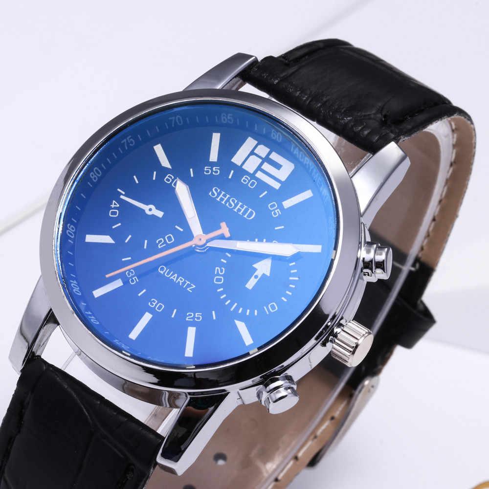 2019 relogio masculino כחול ray זכוכית ניטראלי שעונים גברים קוורץ שעוני יד מדמה אפידרמיס עור להקת רצועת saat שעון