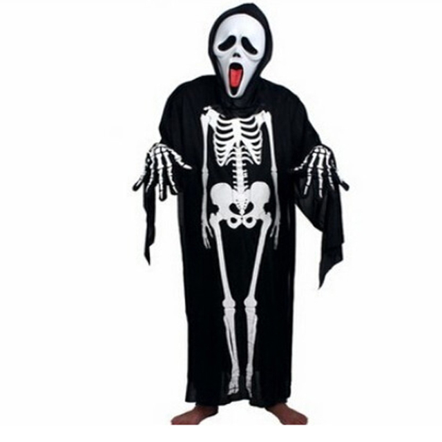 Children Cosplay Costumes Kids Halloween Scary Costumes Masquerade Prop Skull Skeleton Devil Mask Ghost Clothes Accessories H159
