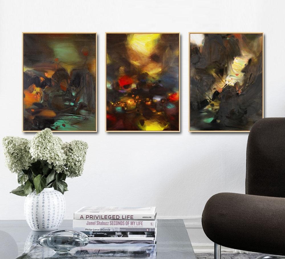 Acheter Abstraite Lumière Brillante Montagne Rétro Fond Toile Peinture Aquarelle Art Mur Photo Pour La Chambre Décor Sans Cadre De 10 45 Du