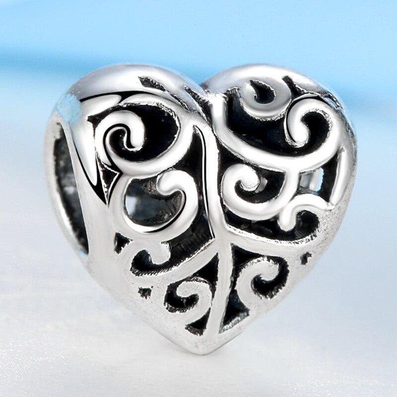 1c004d656536 Nbsameng auténtico s925 plata esterlina del encanto del grano asombroso  corazón hueco Cuentas fit pulseras DIY joyería yw15942
