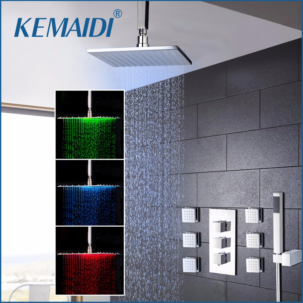 kemaidi 8 inch led shower wall mounted square style brass head waterfall shower set rainfall bathroom shower kit hand shower