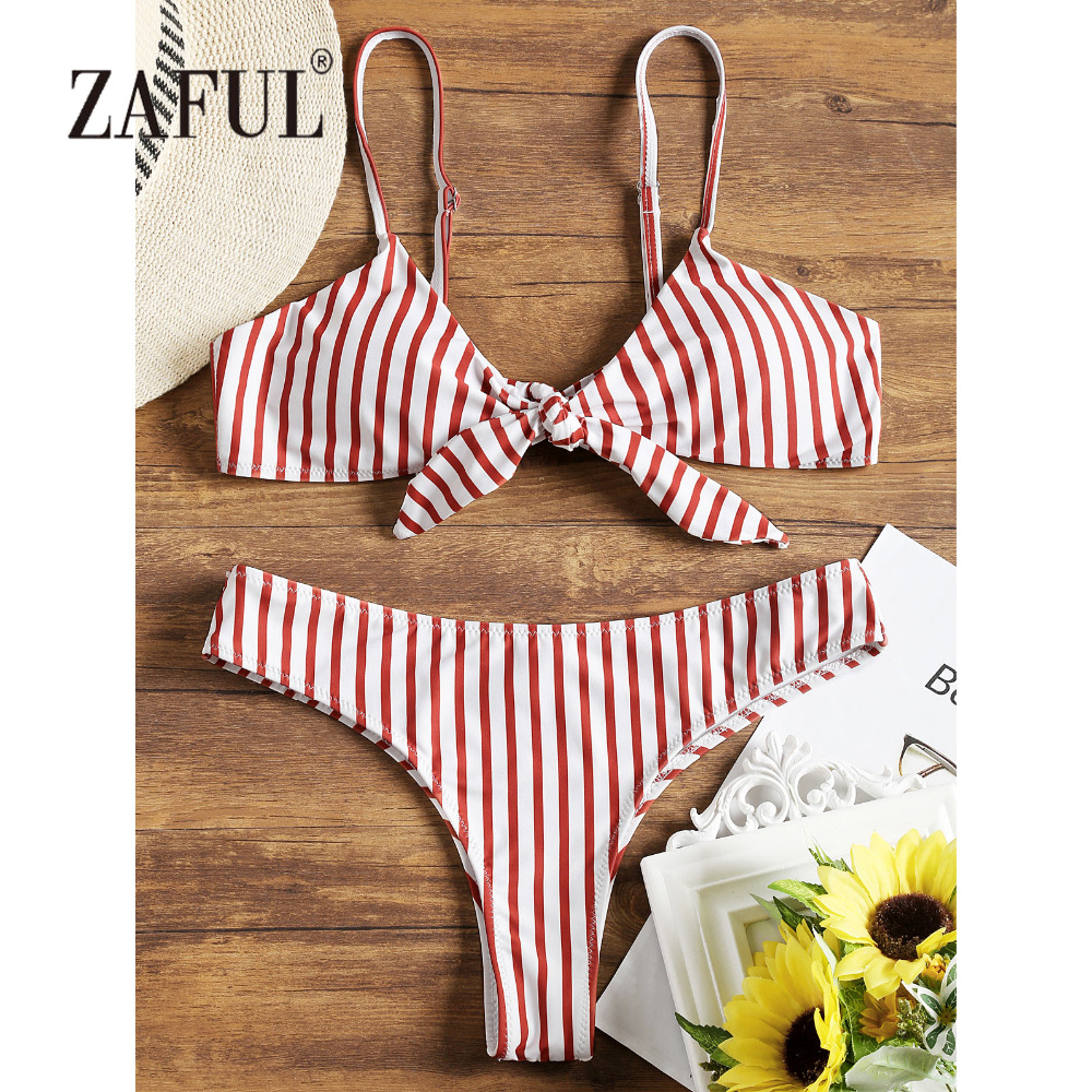 ZAFUL BIkini Striped Front Knotted Women Swimsuit Swimwear Spaghetti Straps Bathing Suit Padded Thong Bottom Biquni Beachwear stylish spaghetti straps black cut out women s bikini set