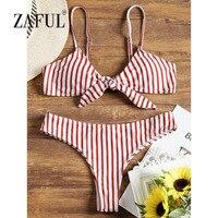 ZAFUL BIkini Striped Front Knotted Women Swimsuit Swimwear Spaghetti Straps Bathing Suit Padded Thong Bottom Biquni Beachwear
