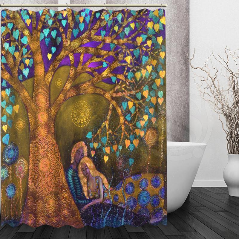 Online Shop Custom Klimt Tree Of Life Shower Curtain Polyester Beautiful New Arrival Home Bathroom Bath Screens