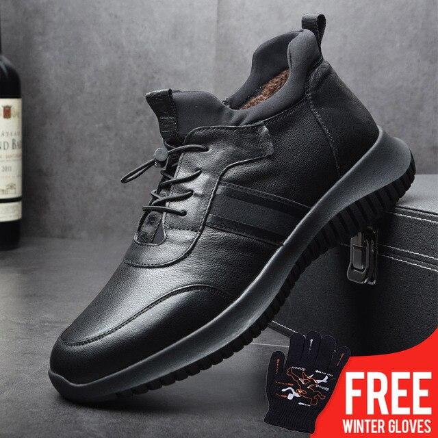 OSCO Winter Schuhe Männer Echtes Leder High Top Sneakers Outdoor Fashion Casual Flache Plüsch Warme Schnee Schuhe Männlichen Rutsch Auf müßiggänger