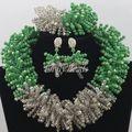 Великолепный зеленый африканский бусины комплект ювелирных изделий нигерии свадьба африканские бусины комплект ювелирных изделий кристалл люкс 2016 новый бесплатная доставка AIJ237
