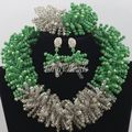 Gorgeous Green African Beads Jewelry Set Nigerian Wedding African Beads Jewelry Set Crystal Bridal 2016 New Free Shipping AIJ237