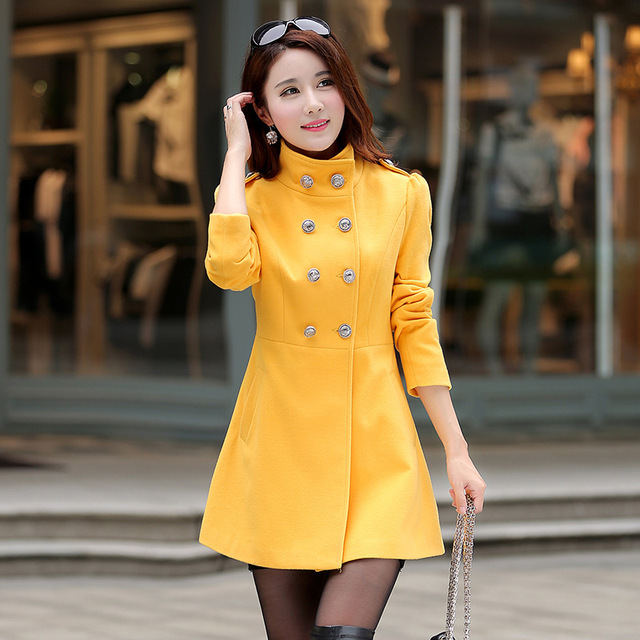 2016 New Korean Version Women Fashion Slim Collar Double Breasted Long Sleeved Wool Coat