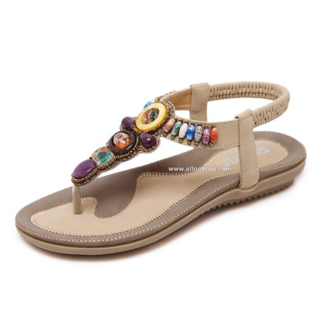 e6a2eab71a97e Fashion bohemian women sandals boho gemstone beaded slippers summer beach  sandals Ladies flip flops flat designer shoes flipflop