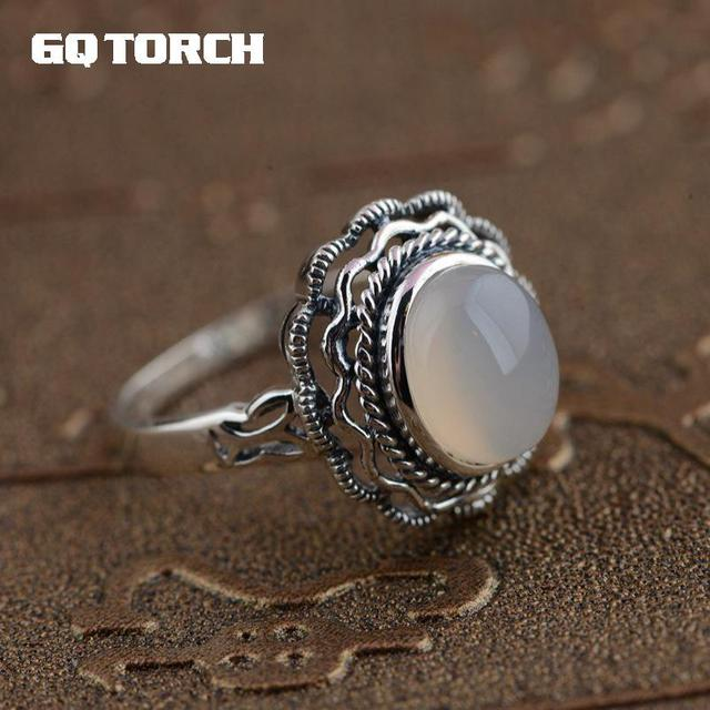 GQTORCH 925 Sterling Silver Natural White Chalcedony Gemstone Rings For Women Vitnage Hollow Flower Carved Anel Feminino