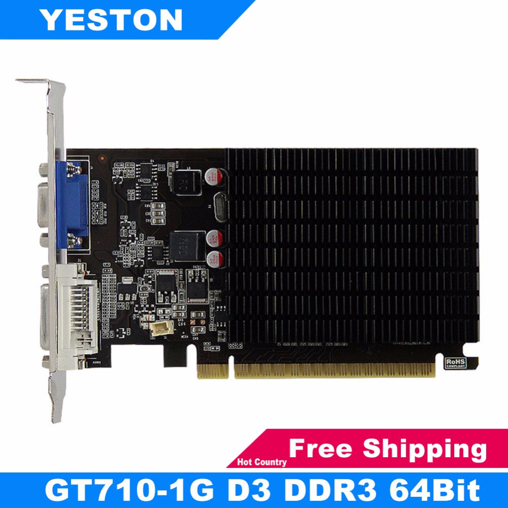Yeston GT710-1G D3 Graphics Card 1G GDDR3 1600MHz 64Bit Desktop PC DVI Gaming Video Card for nVIDIA Gaming Video Card for Game new original for mgoy hd7450 1g 64bit ddr3 625 1066mhz for amd graphics card dvi hdmi vga
