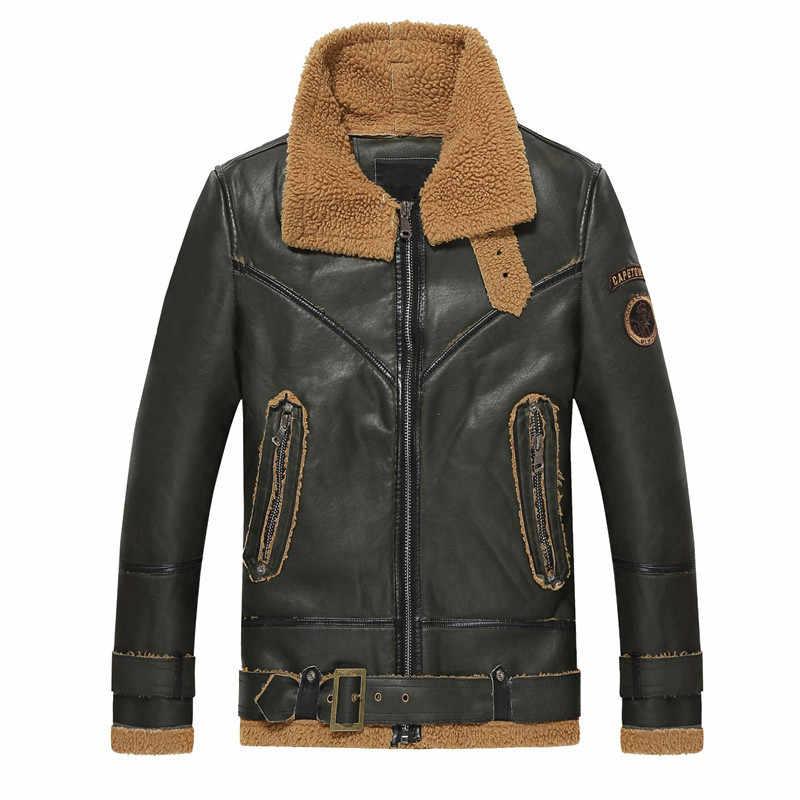 2018 осенняя и зимняя мужская кожаная куртка Ретро мотоциклетная теплая плюс бархатная куртка из искусственной кожи ветрозащитная куртка-бомбер куртка