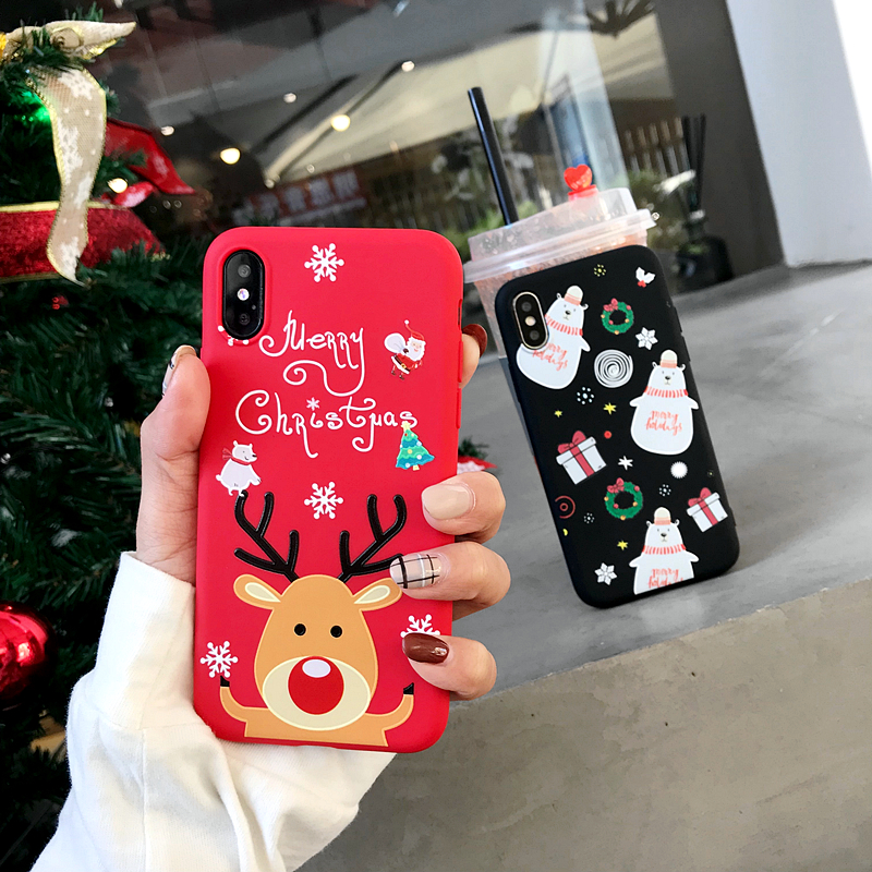 3D Cartoon TPU phone Case for iphone 6 6s 7 8 Plus X Santa Claus Christmas Soft Silicone Cover for iphone XR XS Max snowman Case