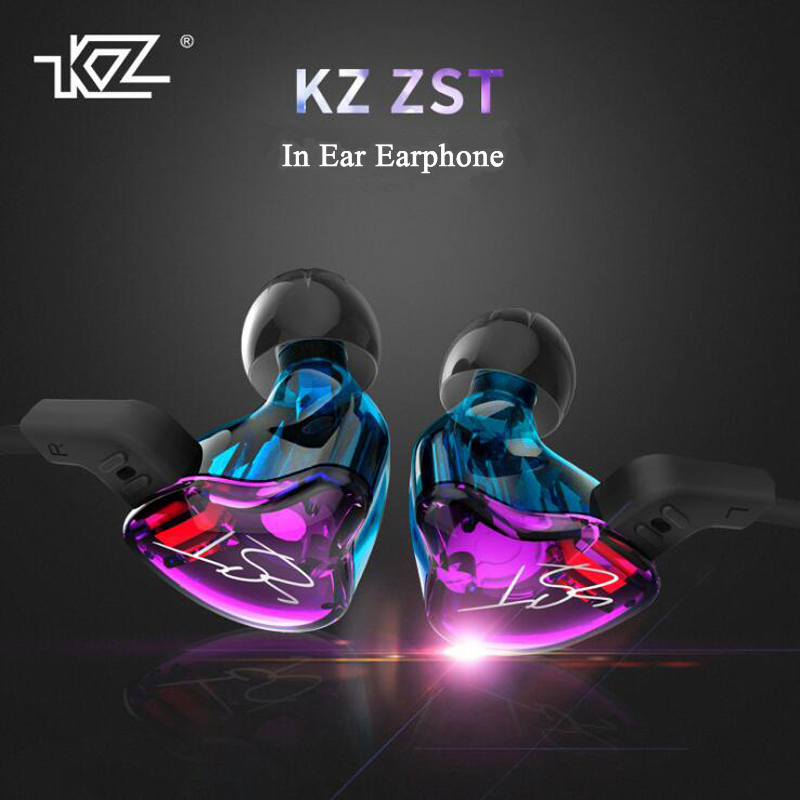 KZ ZST Armature Dual Driver Earphone Detachable Cable 3.5mm In Ear Audio Monitors Noise Isolating HiFi Music Sports Earbuds kz zst armature dual driver earphone detachable cable in ear audio monitors hifi sports headphone earbuds with mic for iphone s8