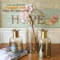 2018 NEW Crystal clear vase,Nordic style glass transparent copper ring vase decoration,multifunctional living room flower vase