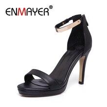 купить ENMAYER  Genuine Leather  Sandals Women  Sandalias Mujer 2019 Women Shoes  High Heels Sandals Women Size 34-40 ZYL2682 по цене 2645.78 рублей