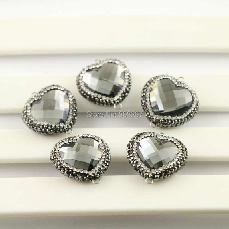 10Pcs Heart Shape Faceted Crystal Glass Connector Beads, with Crystal Paved Glass Beads Pendant Charms, For Jewelry Making