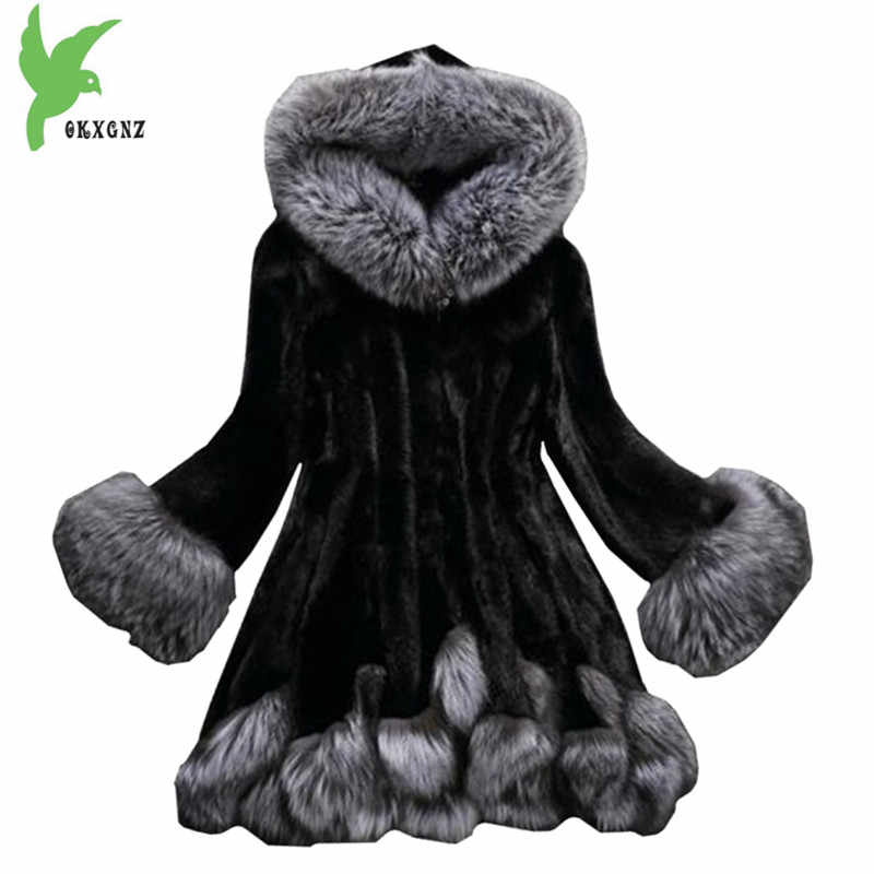 Faux Fur coat Women 2019 autumn and winter Mink coat Fox fur collar Hooded jacket Plus size 6XL top Fur coats female OKXGNZ 1751