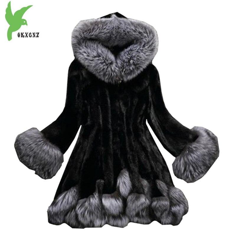 Женская Шуба из искусственного меха 1751 осень и зима норковая шуба лисий мех воротник с капюшоном куртка плюс размер 6XL верхняя шуба женская ...