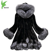 Faux Fur coat Women 2018 autumn and winter Mink coat Fox fur collar Hooded jacket Plus size 6XL top Fur coats female OKXGNZ 1751