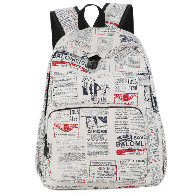 6f1cc6daf1c9 Newspeper Backpack Letters Printing Light School Bag for Teenage Girls New  2018 Fashion Light Canvas Leisure