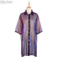 Qlychee Transparent Mesh Laser Blouse Women Summer Half Sleeve Sunscreen Sunproof Long Tops