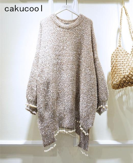 Cakucool New Silver Lurex Sweater Women Pearl Beading Tassel Shiny Asymmetric Jumper Korean Cute Mid Long Sweaters Jersey Mujer