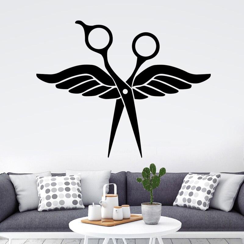 DCTAL Scissor Wings Barber Shop Sticker Name Hair Salon Decal Neutral Haircut Poster Vinyl Wall Art Decals Decor Windows